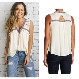 PPLA Clothing Canyon Top Cream Flowy Tassels
